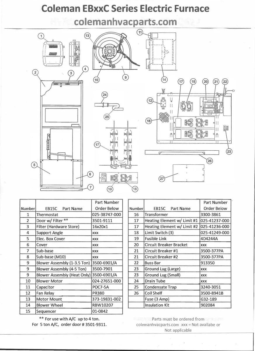 medium resolution of eb15c coleman electric furnace parts u2013 hvacpartstore3500a coleman electric furnace wiring diagram 8