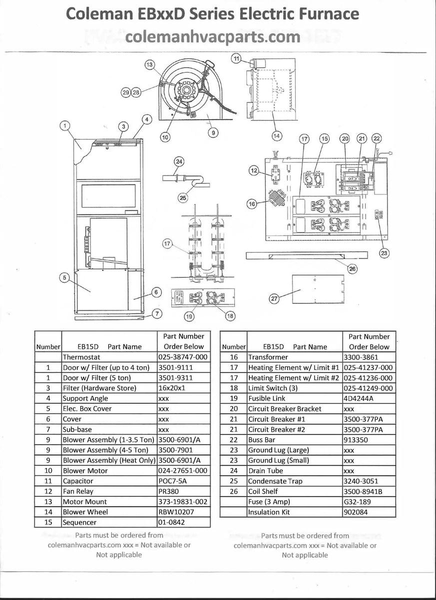 hight resolution of eb15d coleman electric furnace parts hvacpartstore rh hvacpartstore myshopify com coleman evcon eb12b coleman evcon furnace wiring diagram