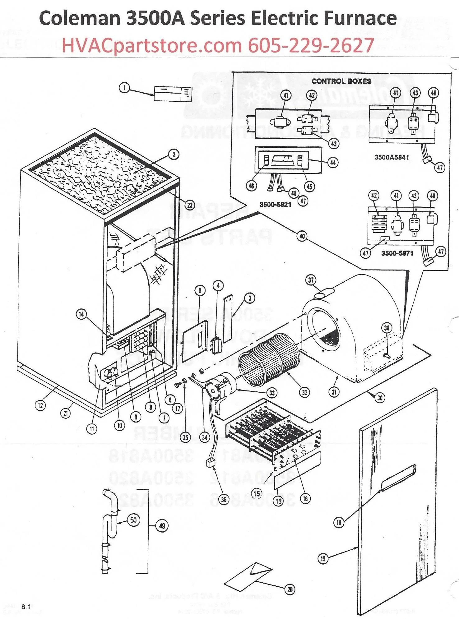 3500a818 coleman electric furnace parts hvacpartstore coleman evcon eb15b electric furnace wiring diagram click here to [ 1476 x 1991 Pixel ]