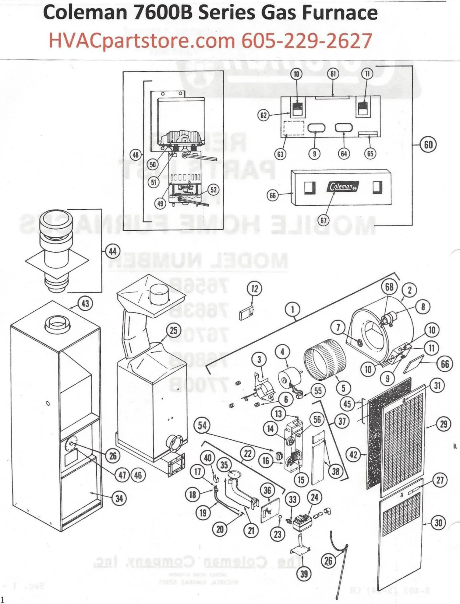 small resolution of 7680b856 coleman gas furnace parts u2013 hvacpartstore trailer wiring diagram coleman gas furnace 7680b856 coleman