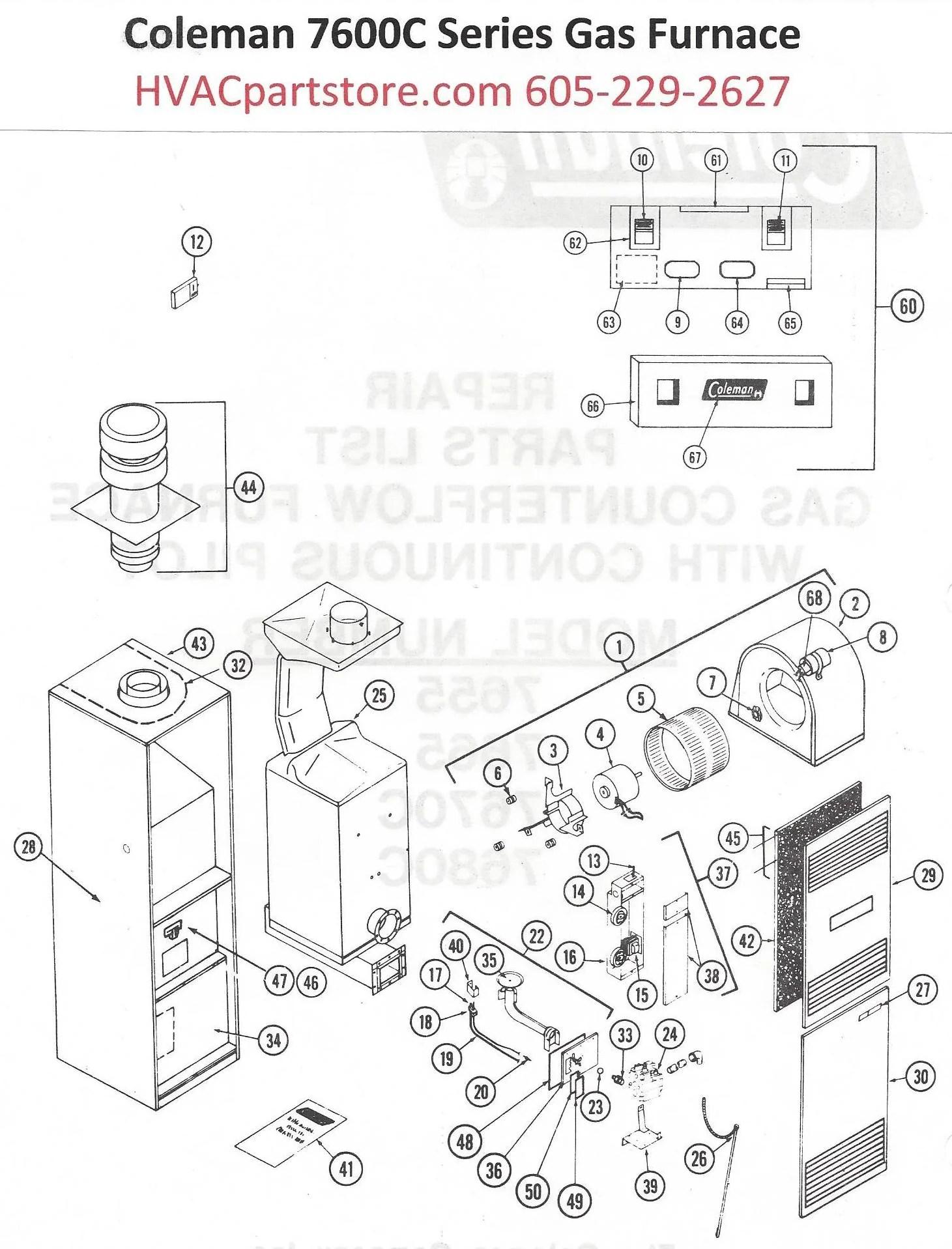7670C856 Coleman Gas Furnace Parts  HVACpartstore