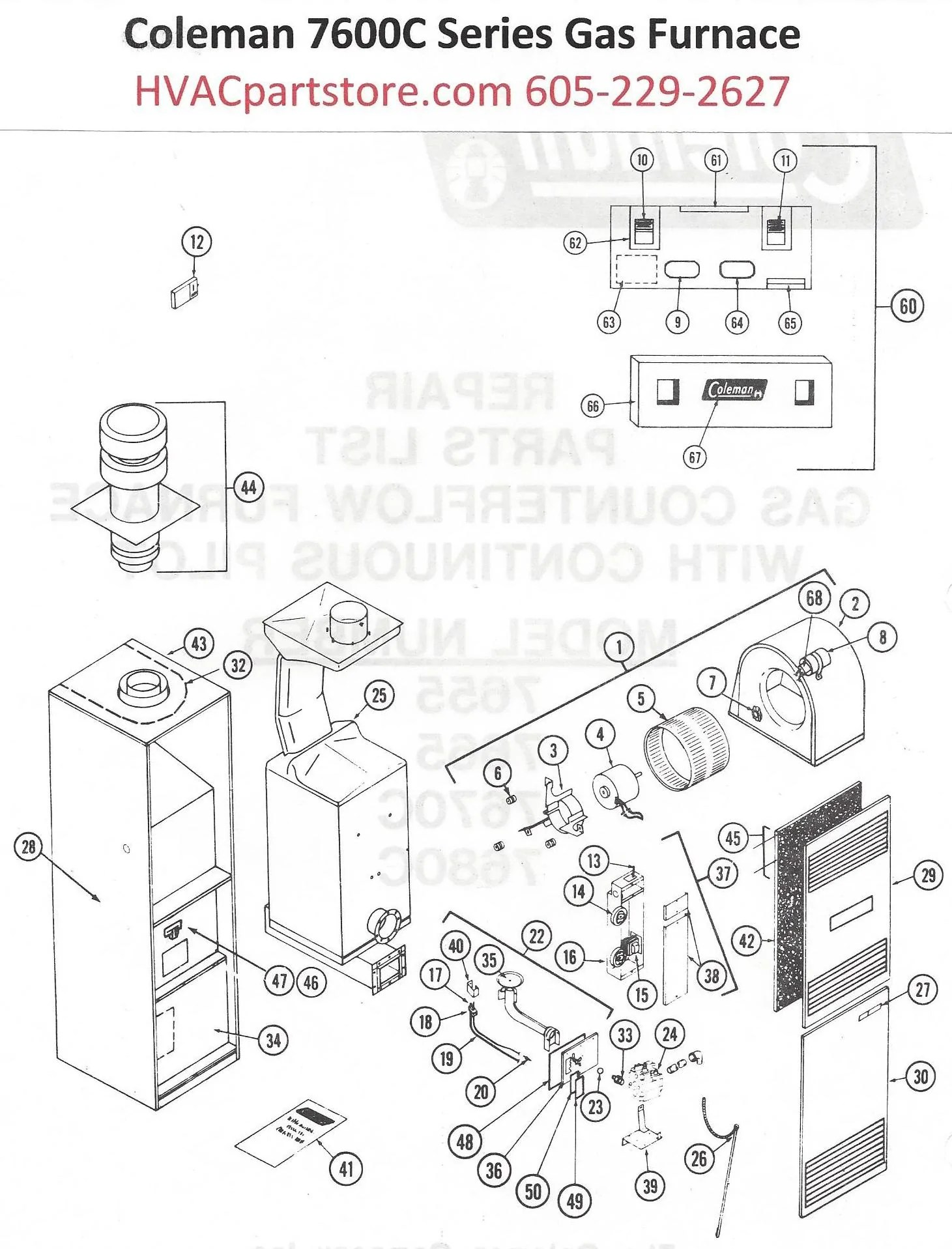medium resolution of 7670c856 coleman gas furnace parts hvacpartstore furnace parts diagram on gas wiring coleman for diagram model furnace