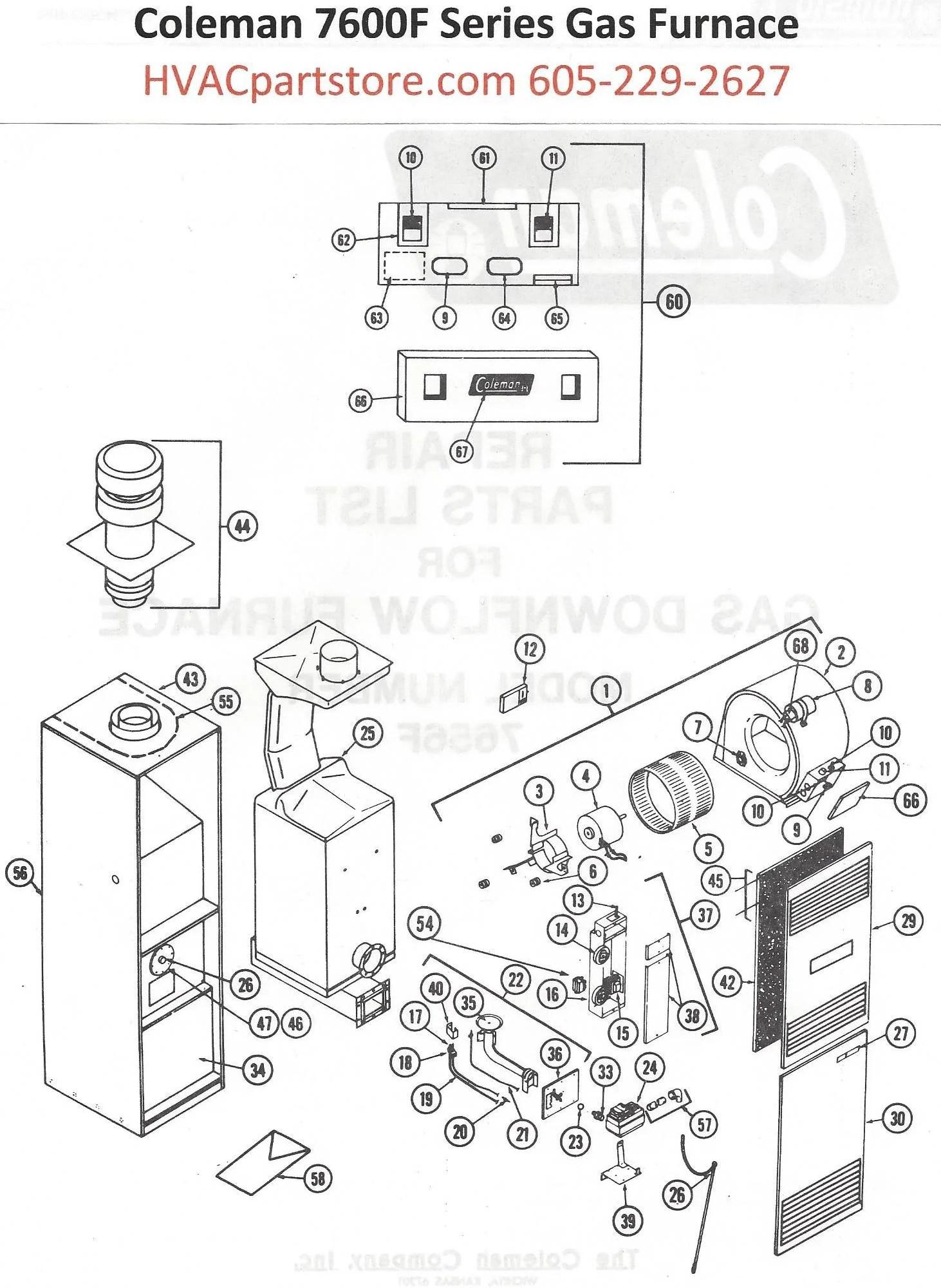 Jcb Wiring Schematic 7656f856 Coleman Gas Furnace Parts Hvacpartstore