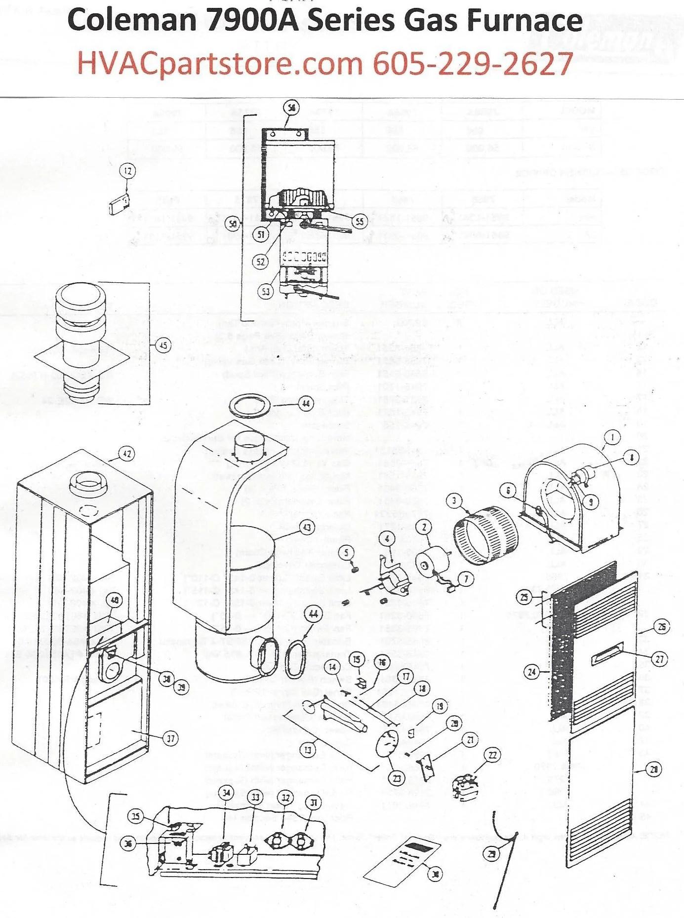 7600b coleman gas furnace diagram