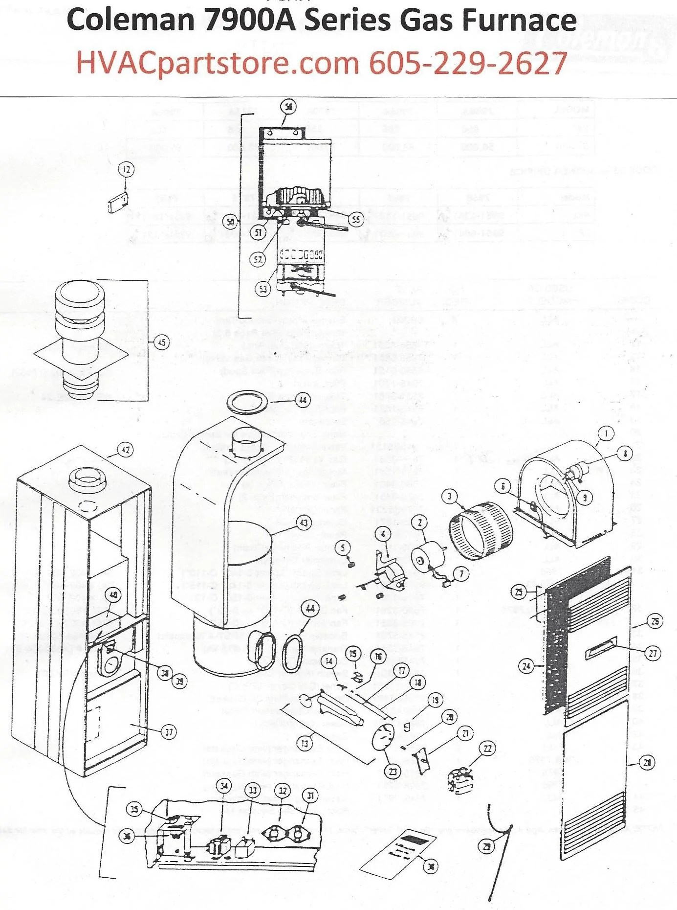 small resolution of 7975a856 coleman gas furnace parts u2013 hvacpartstore coleman heater wiring diagram eb17b coleman electric