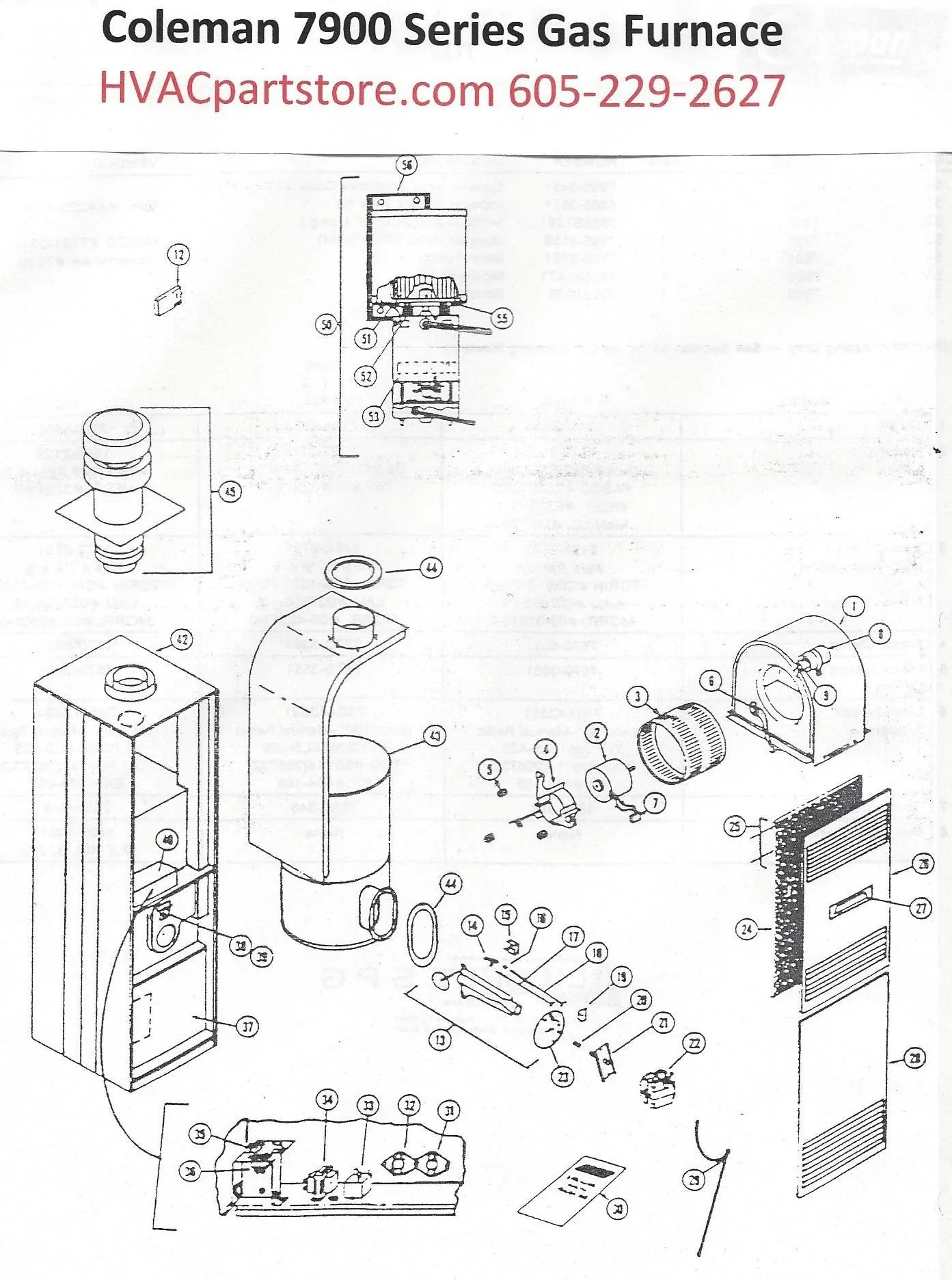 hight resolution of 7956 856 coleman gas furnace parts hvacpartstore evcon mobile home furnace diagram 7956 856 coleman gas