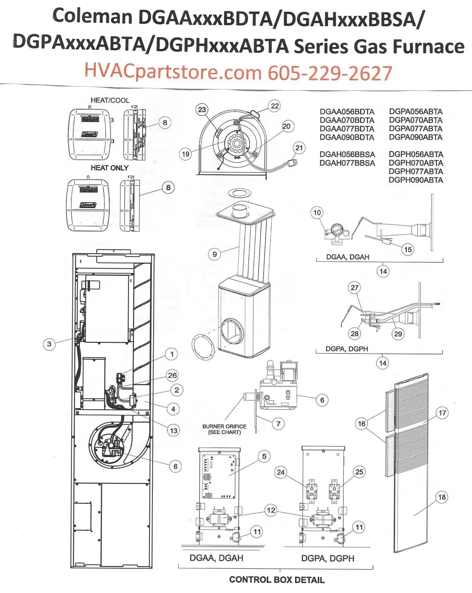 DGAA070BDTA Coleman Gas Furnace Parts  HVACpartstore