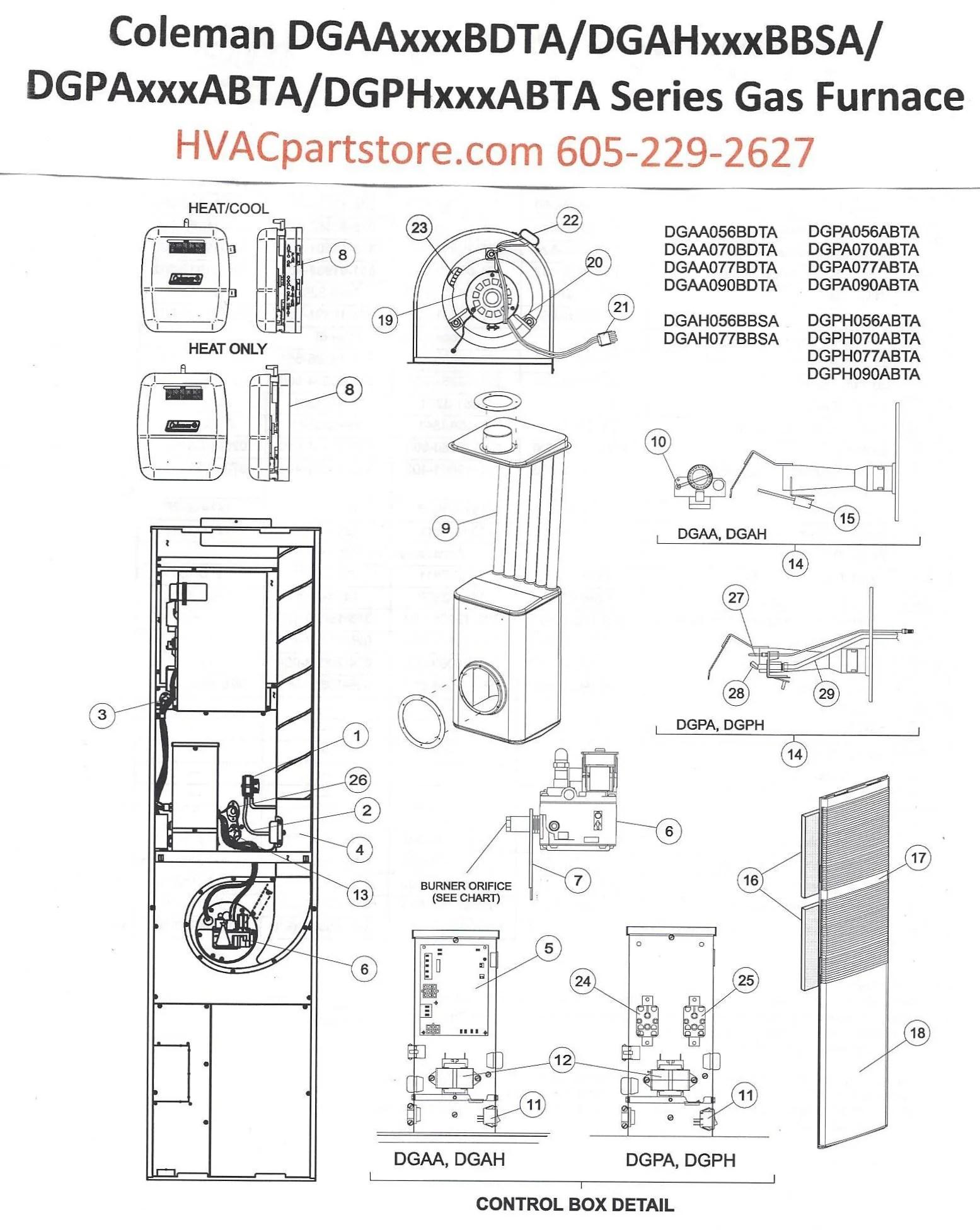 medium resolution of dgaa070bdta coleman gas furnace parts hvacpartstore rh hvacpartstore myshopify com furnace thermostat wiring diagram mobile home