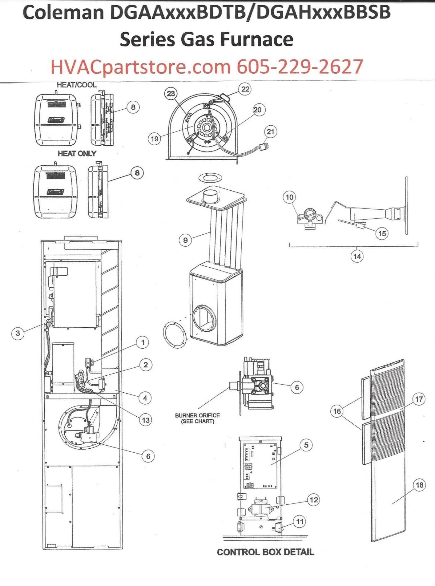 DGAA056BDTB Coleman Gas Furnace Parts  HVACpartstore