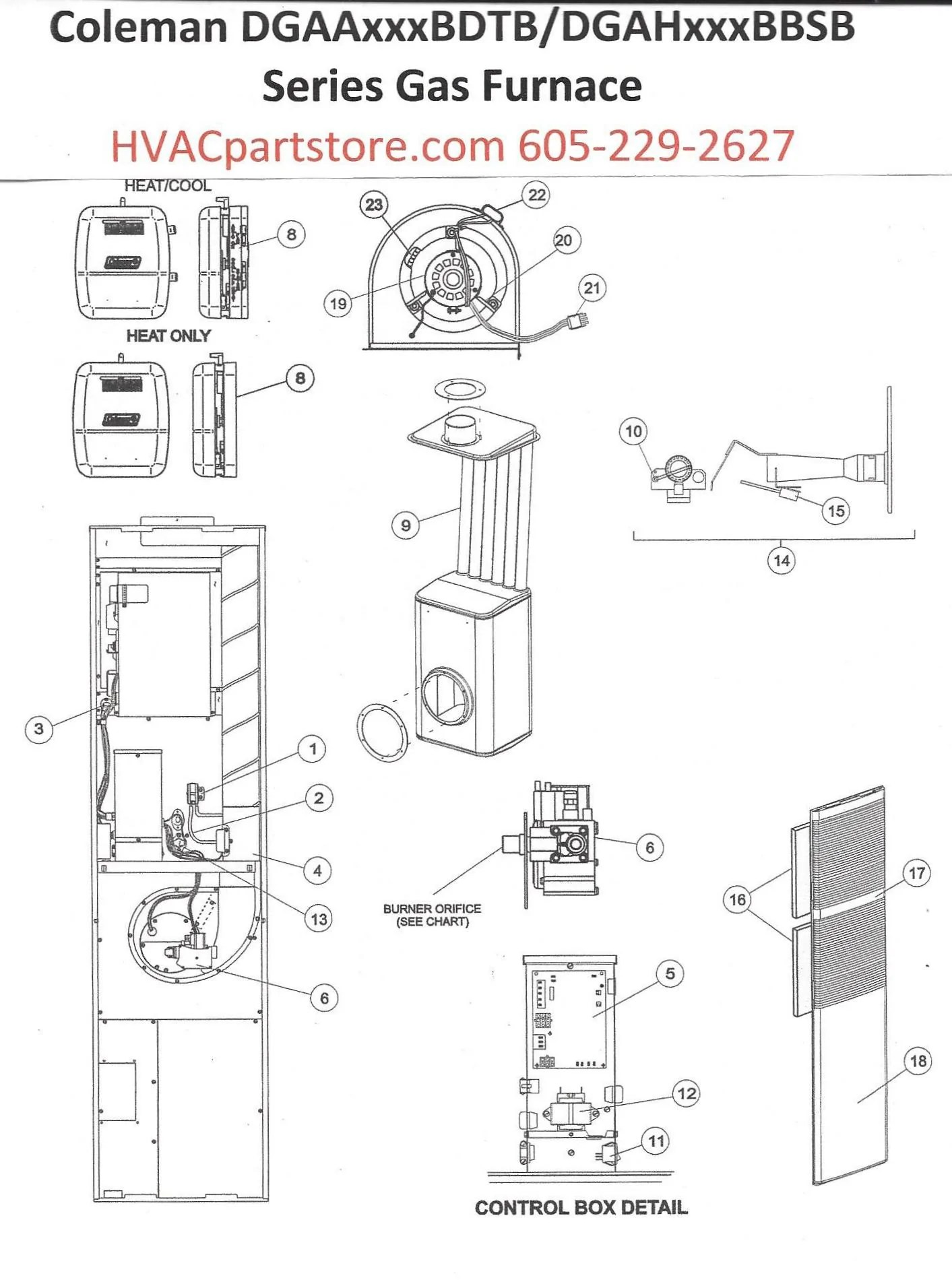 medium resolution of dgaa077bdtb coleman gas furnace parts hvacpartstore coleman evcon wiring diagram dgaa077bdtb