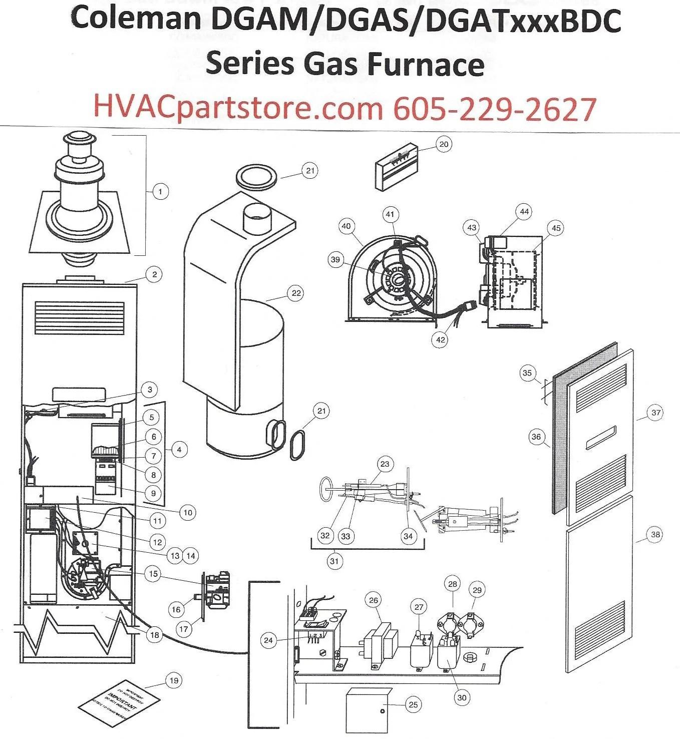 DGAM056BDD Coleman Gas Furnace Parts – HVACpartstore