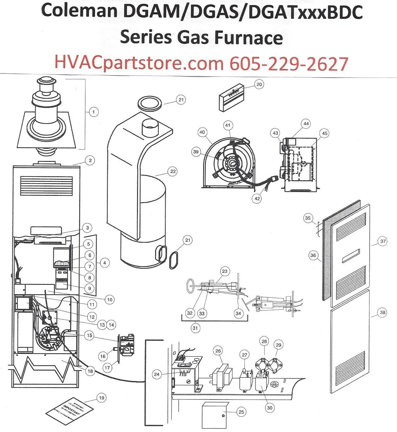 medium resolution of dgat070bdc coleman gas furnace parts hvacpartstore coleman furnace schematic coleman furnace schematics