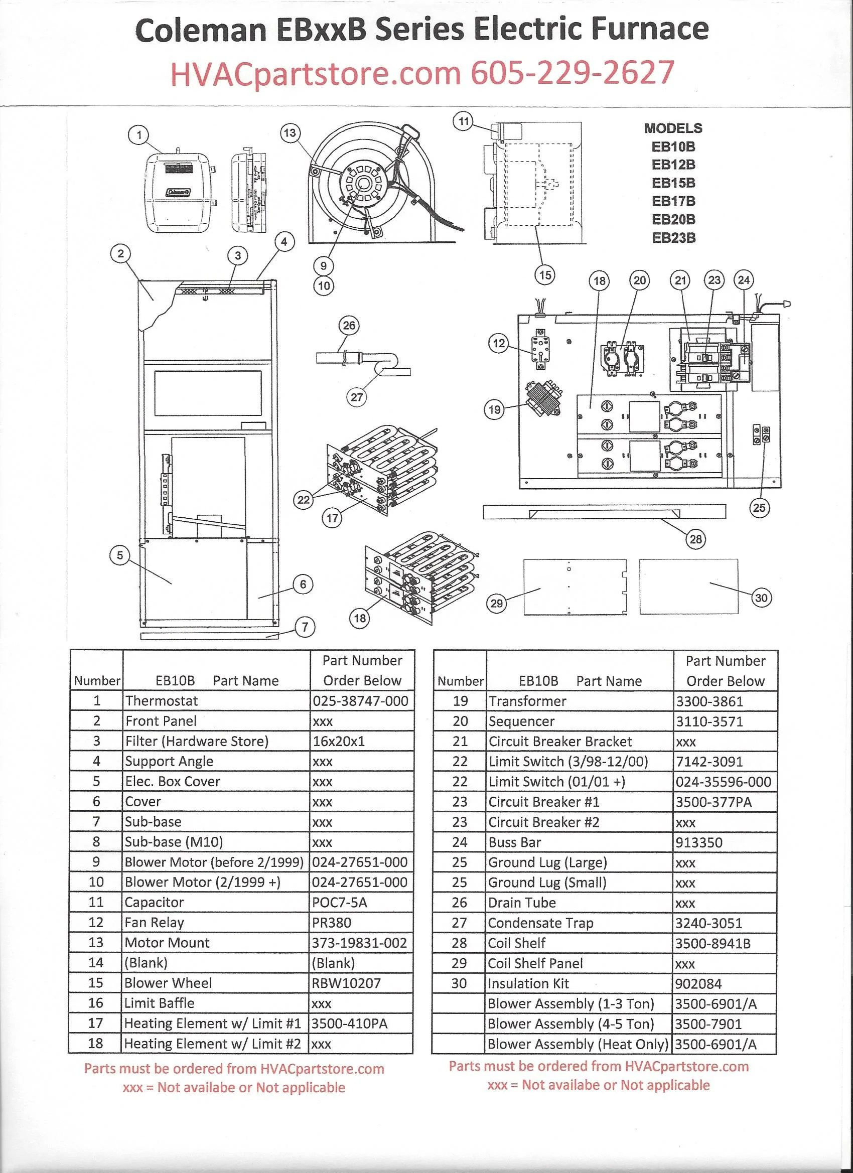 hight resolution of eb10b coleman electric furnace parts hvacpartstore 10 kw electric furnace wiring diagram