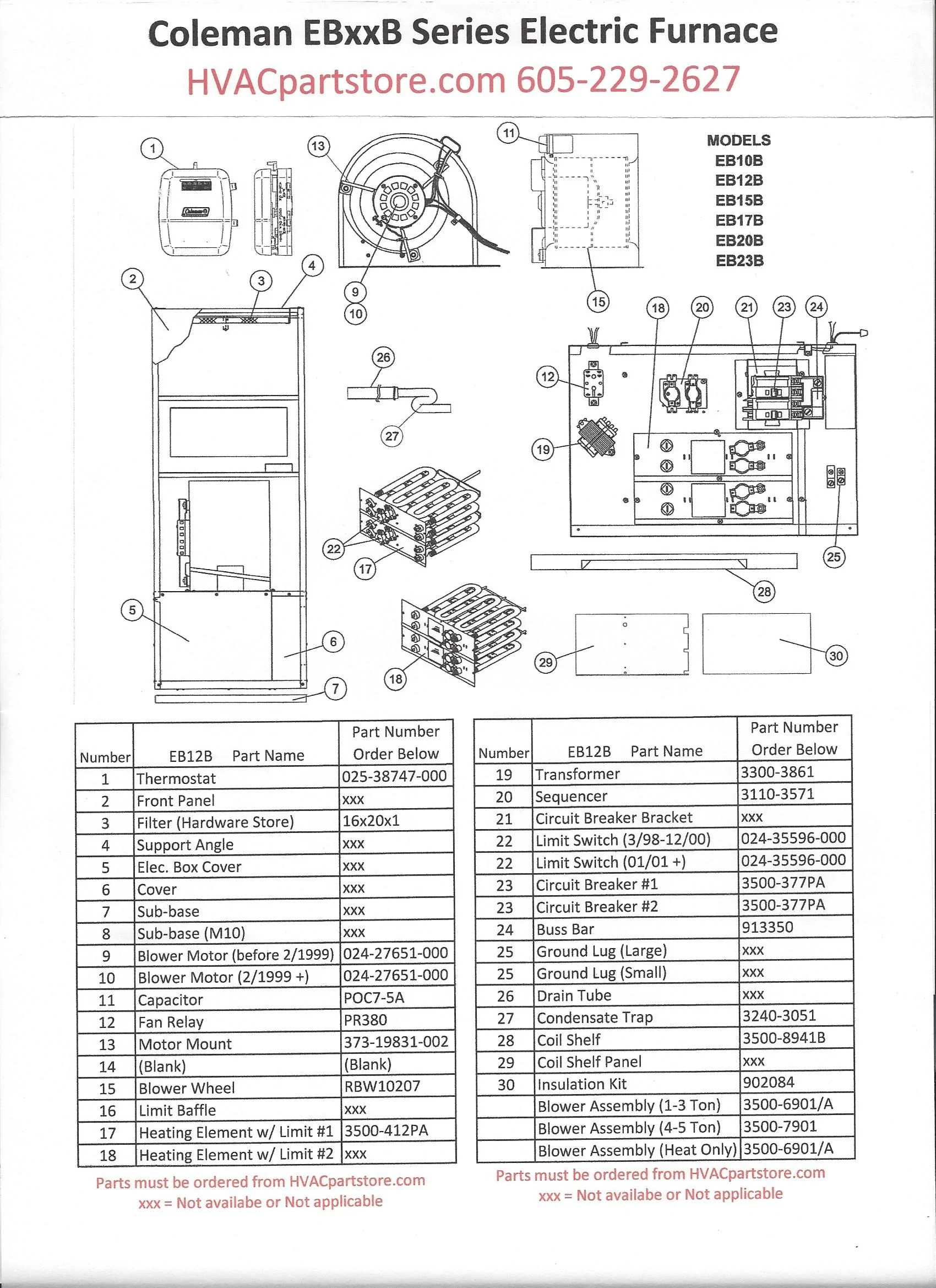 click here to view a manual with wiring diagrams eb12b coleman electric furnace  [ 1700 x 2338 Pixel ]