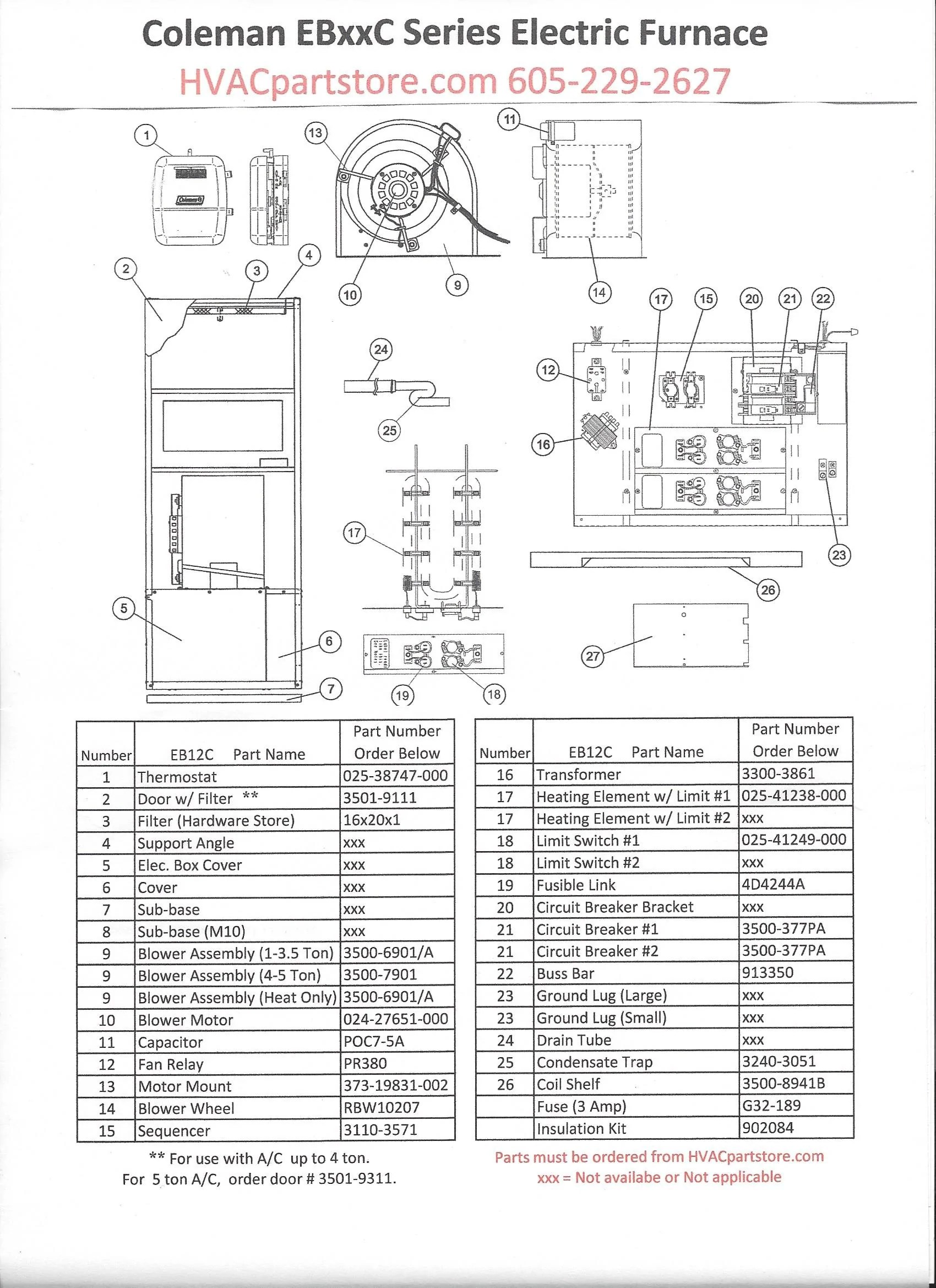 EB12C Coleman Electric Furnace Parts – HVACpartstore