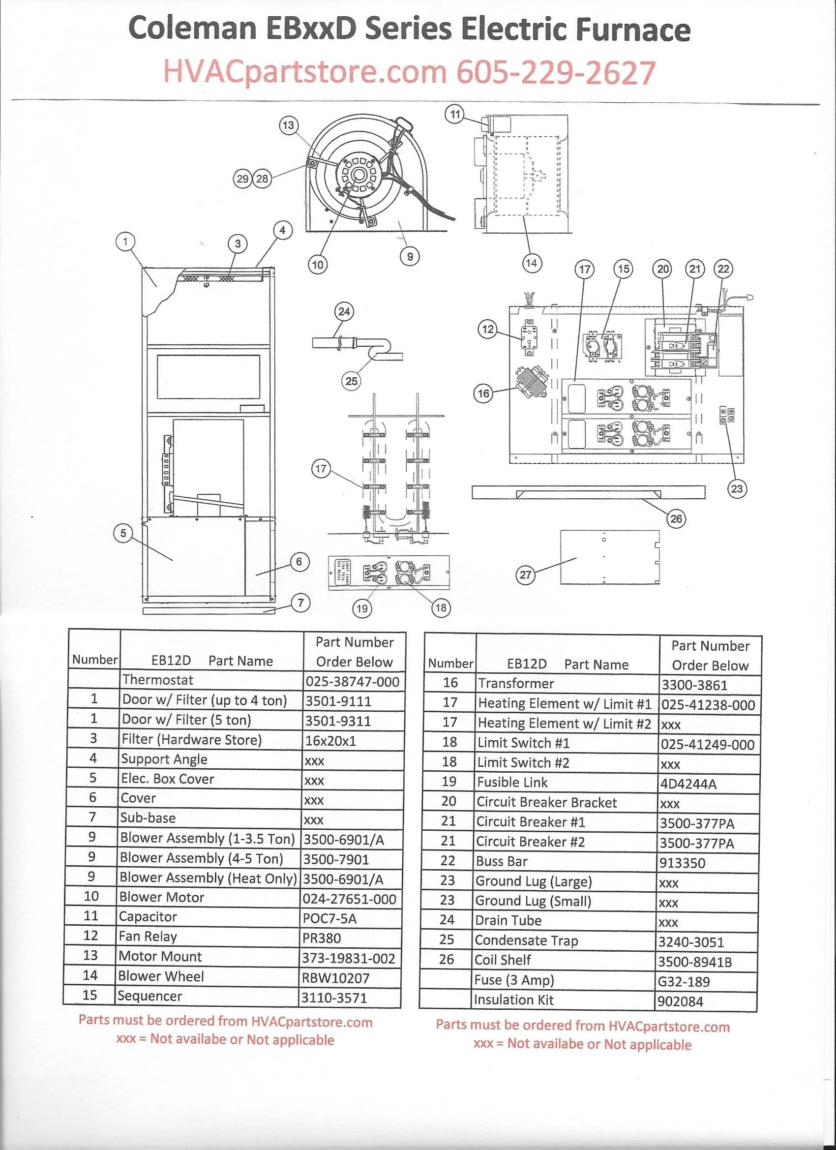 hight resolution of eb12d coleman electric furnace parts u2013 hvacpartstoreclick here to view wiring diagrams