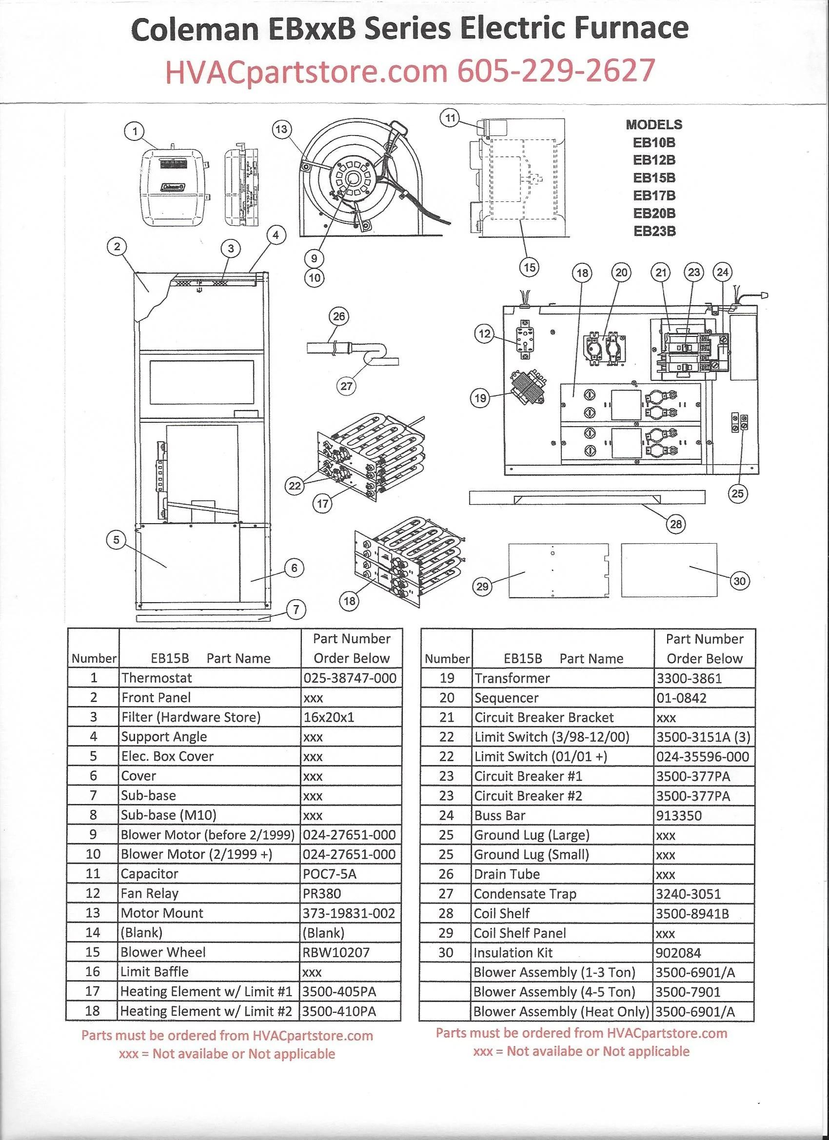 EB15B Coleman Electric Furnace Parts – HVACpartstore
