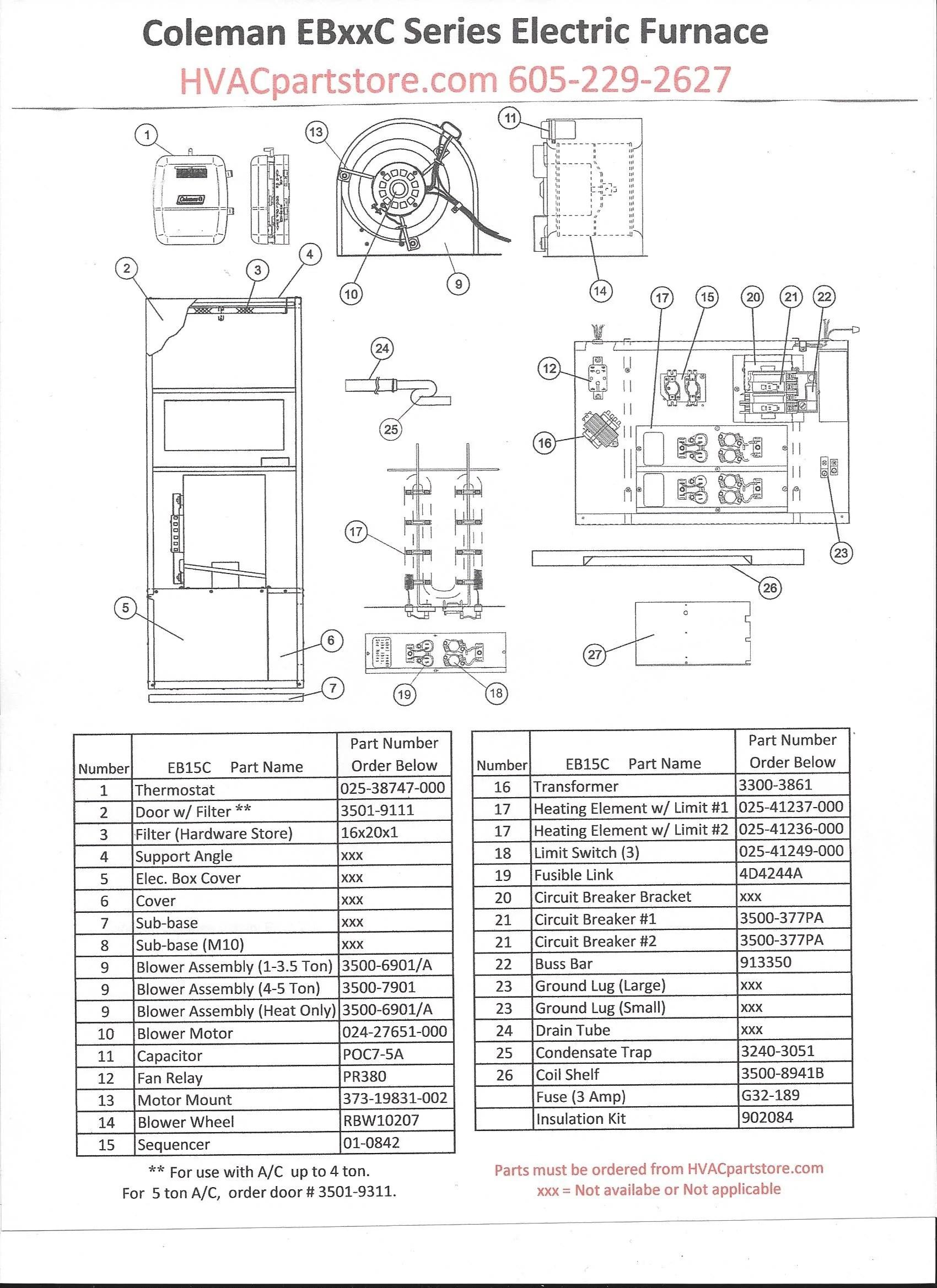 EB15C Coleman Electric Furnace Parts – HVACpartstore