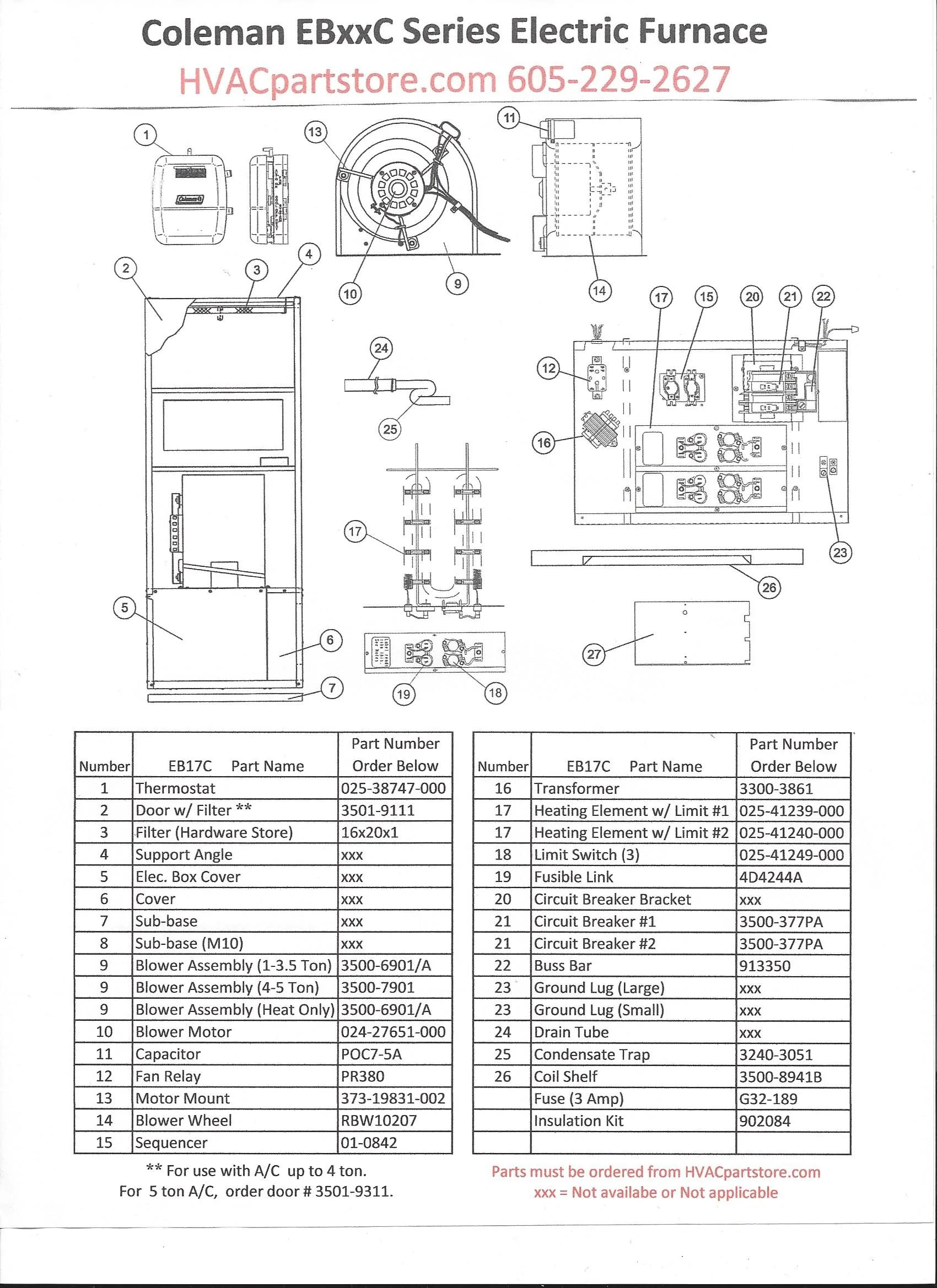 parts listing for a coleman eb17c electric furnace 16 4kw 56 000 btu click here to view wiring diagrams  [ 1700 x 2338 Pixel ]