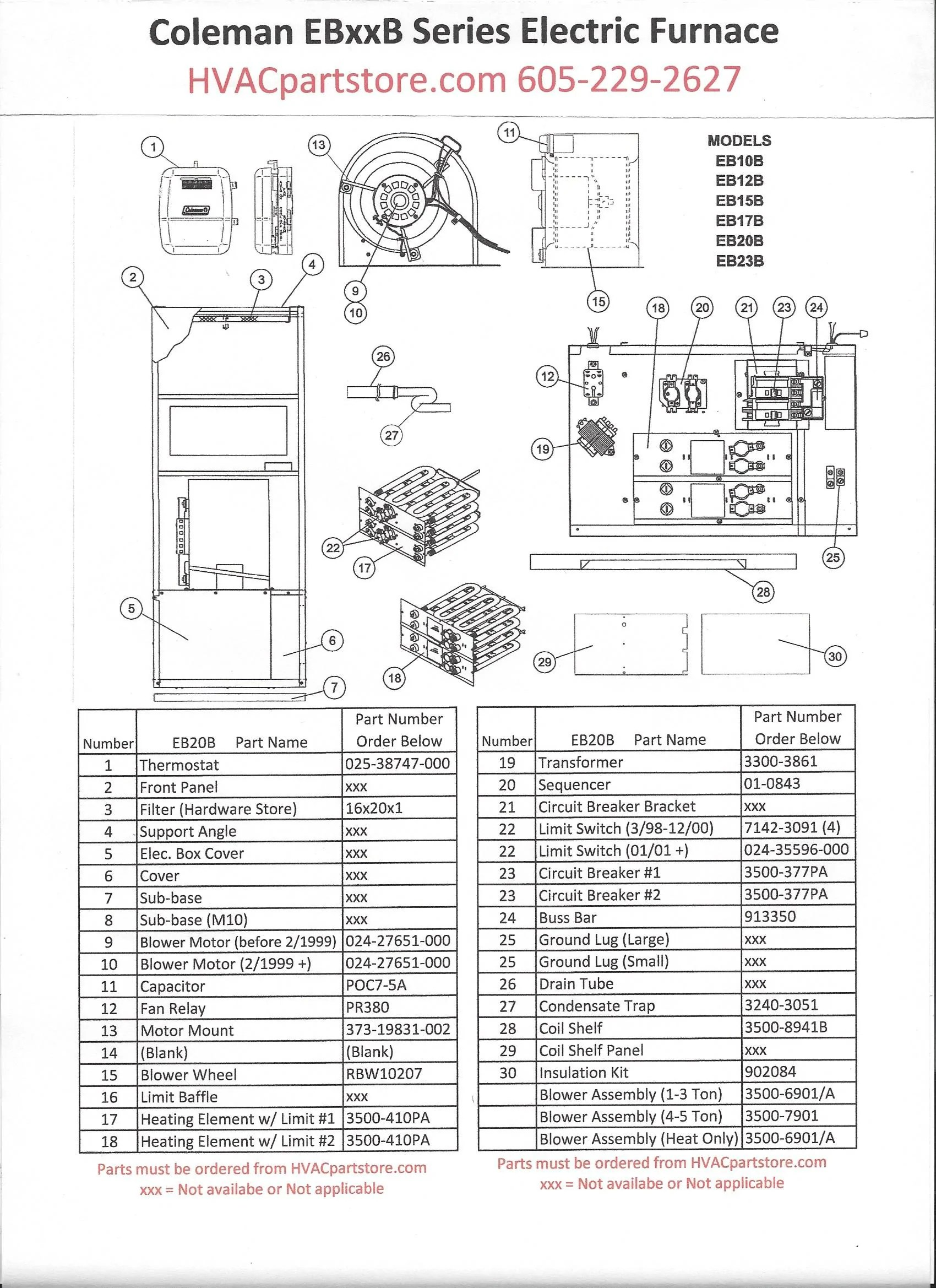 coleman evcon electric furnace wiring diagram universal motorcycle ignition switch eb20b parts  hvacpartstore