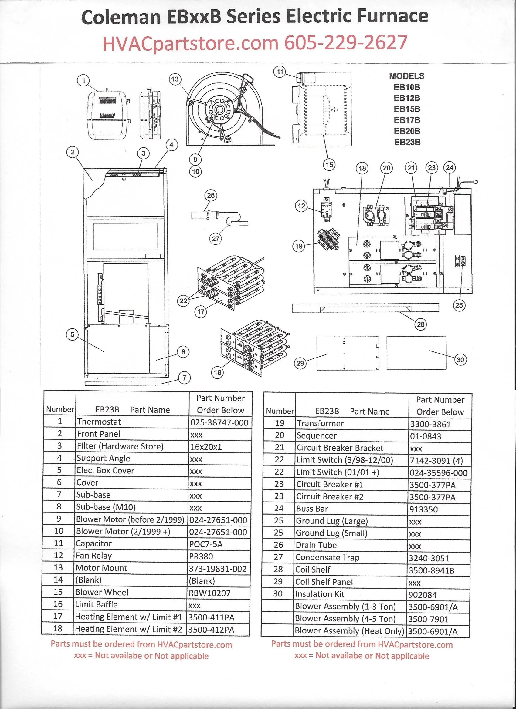 eb23b coleman electric furnace parts hvacpartstore click here to view a manual with wiring diagrams [ 1700 x 2338 Pixel ]