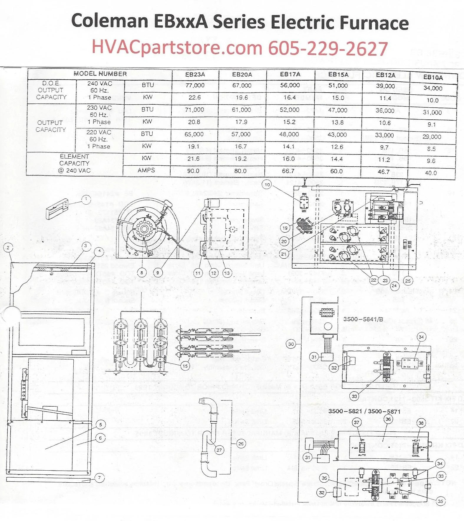 coleman evcon electric furnace wiring diagram 2001 dodge ram fuse box eb23a parts  hvacpartstore