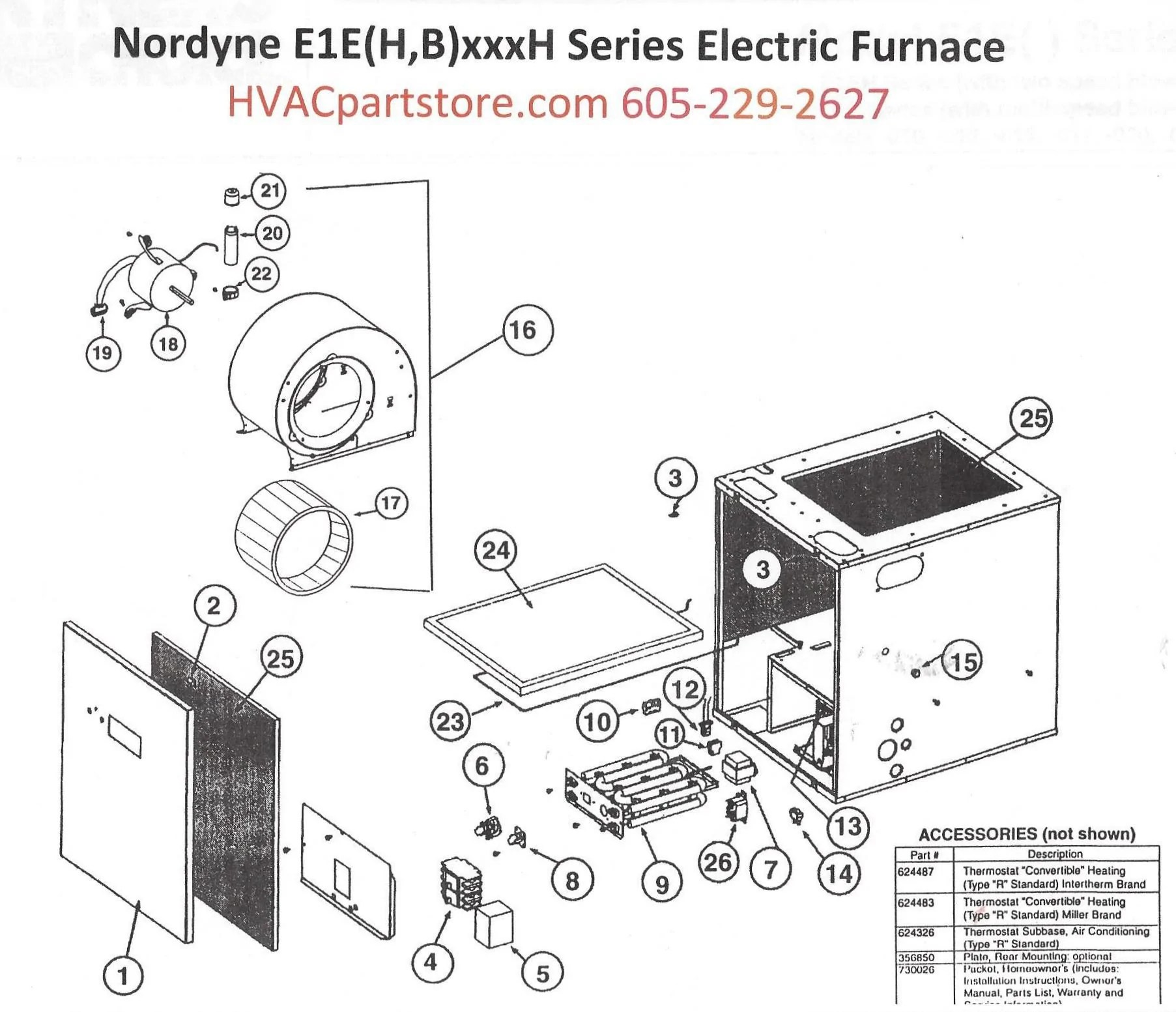 E1EH020H Nordyne Electric Furnace Parts – HVACpartstore