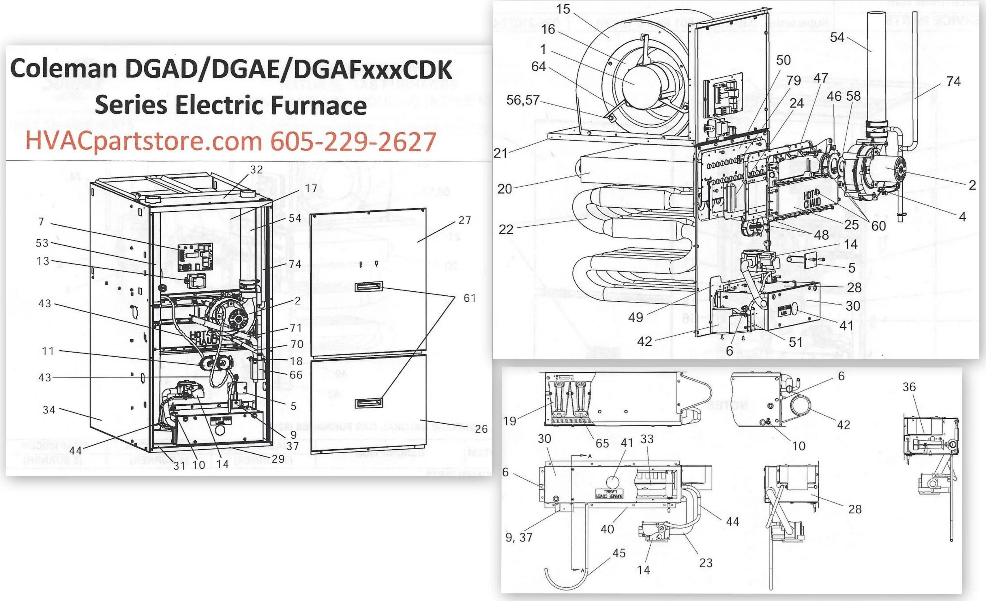coleman evcon wiring diagram thermostat 50 amp gfci breaker dgaf100cdk gas furnace parts  hvacpartstore