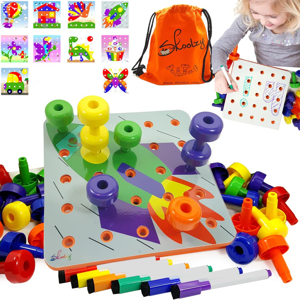 Creative Peg Board Toys For 1 2 3 4 Years Button Toys For