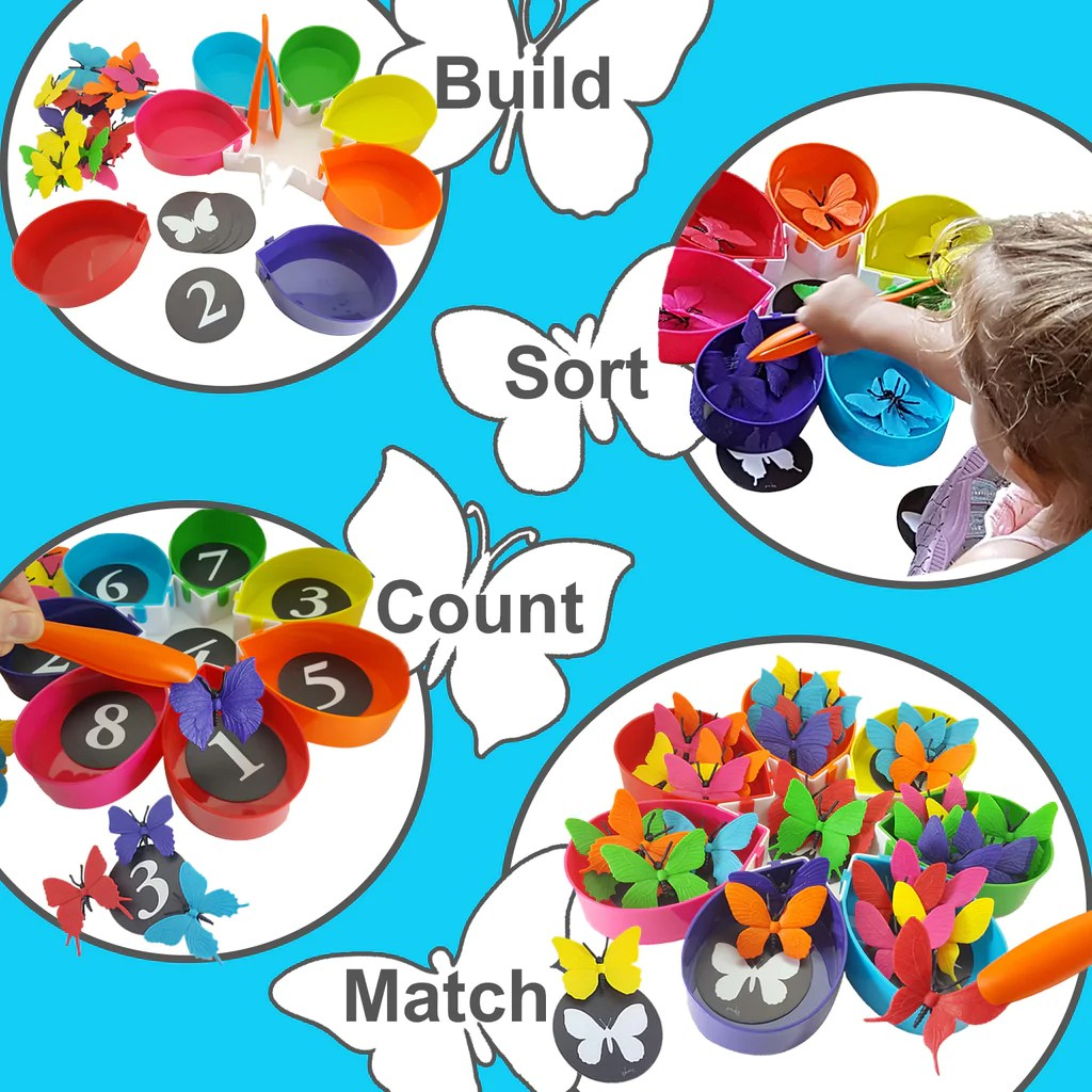 Rainbow Color Sorting Counting Matching Game For Toddlers