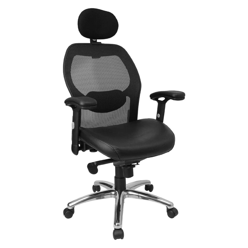 Work Chair High Back Black Super Mesh Executive Swivel Office Chair With Leather Padded Seat And Knee Tilt Control