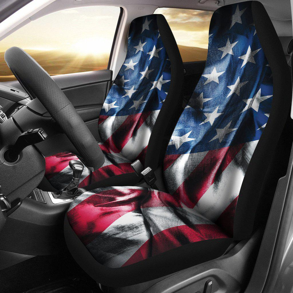 American Flag Wrinkle Design Seat Covers Lets Print Big