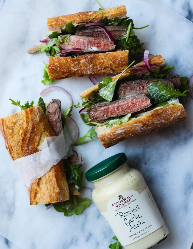 stonewall kitchen aioli tall garbage can steak sandwich with garlic milk and eggs