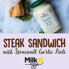 Stonewall Kitchen Aioli How To Arrange Pots And Pans In Steak Sandwich With Garlic Milk Eggs Put On 1tsp Per Pile Arugula 3 4 Pieces Of Slices Red Onion A Little Bit Lemon Juice