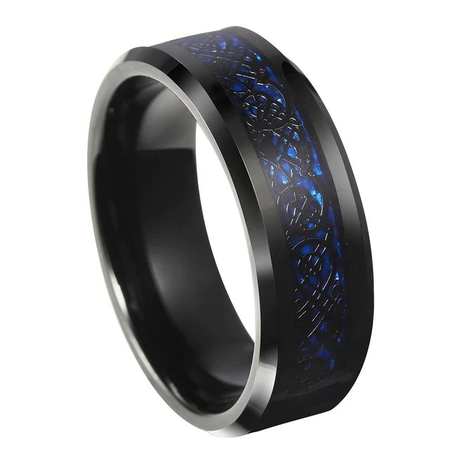 Thin Blue Line Blue Celtic Inlay Ring With Dragon Black