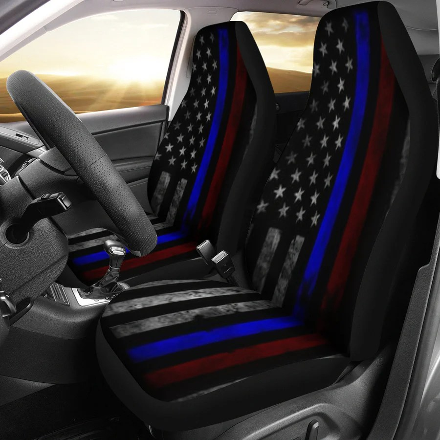 tattered thin blue and red line flag car seat covers set of 2  [ 900 x 900 Pixel ]