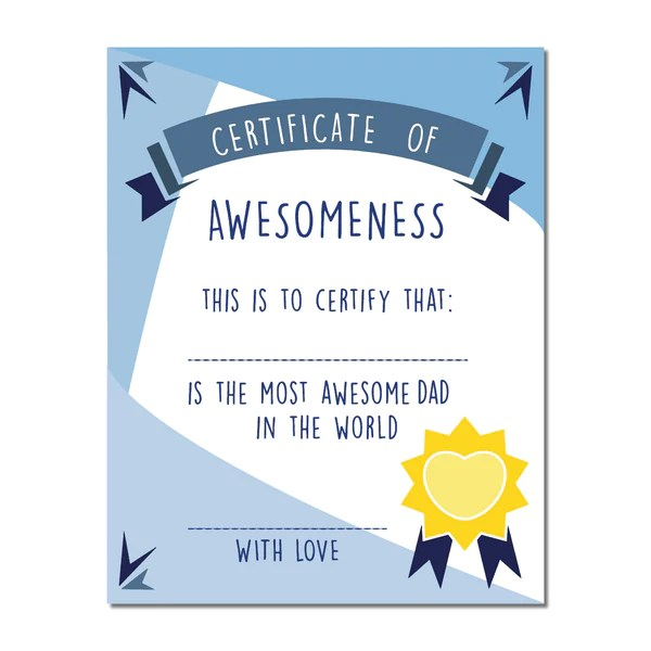 Canvas Or Print Certificate Of Awesomeness For Dad Print