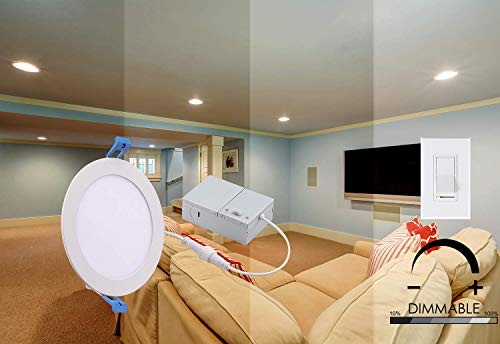 6 pack 6 inch 3000k 4000k 5000k three color temperature selectable dimmable 15w cri 90 led recessed light ic rated ultra thin recessed