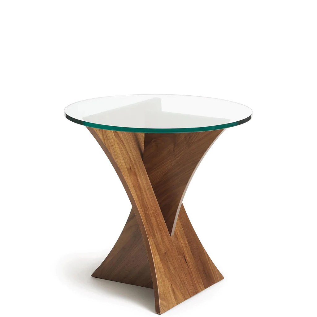 planes round end table in walnut