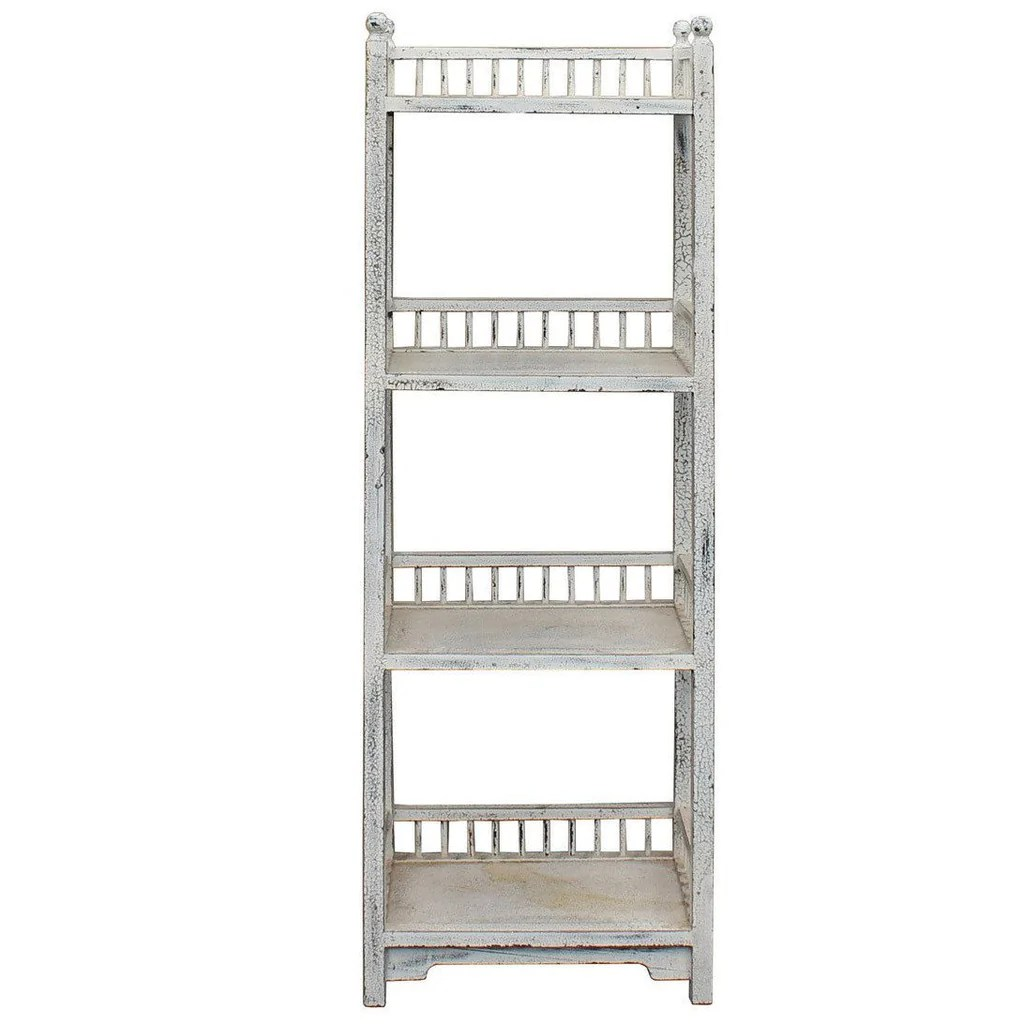 Chinese Distressed Off White Simple Slim Display Bookcase Cabinet Cs2960s