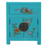 Chinese Turquoise Aqua Graphic Vinyl Moon Face End Table Nightstand Cs4960s