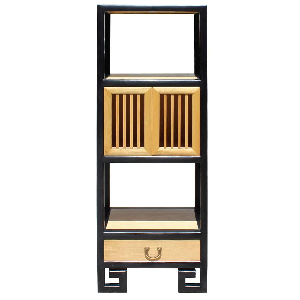 Oriental Black Rim Natural Wood Narrow Storage Display Bookcase Cabinet Cs5163s