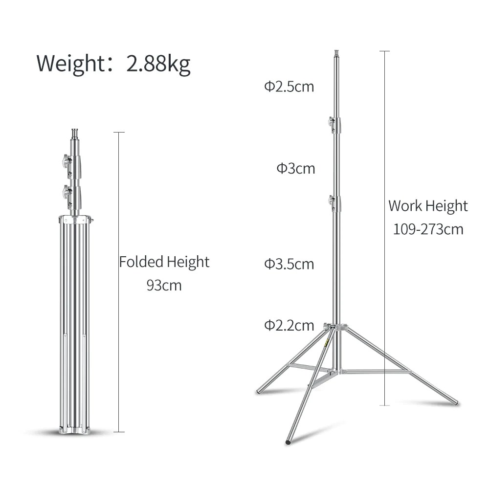 stainless steel 2 73m heavy duty light stand tripod mode de vie photography and photo  [ 1000 x 1000 Pixel ]