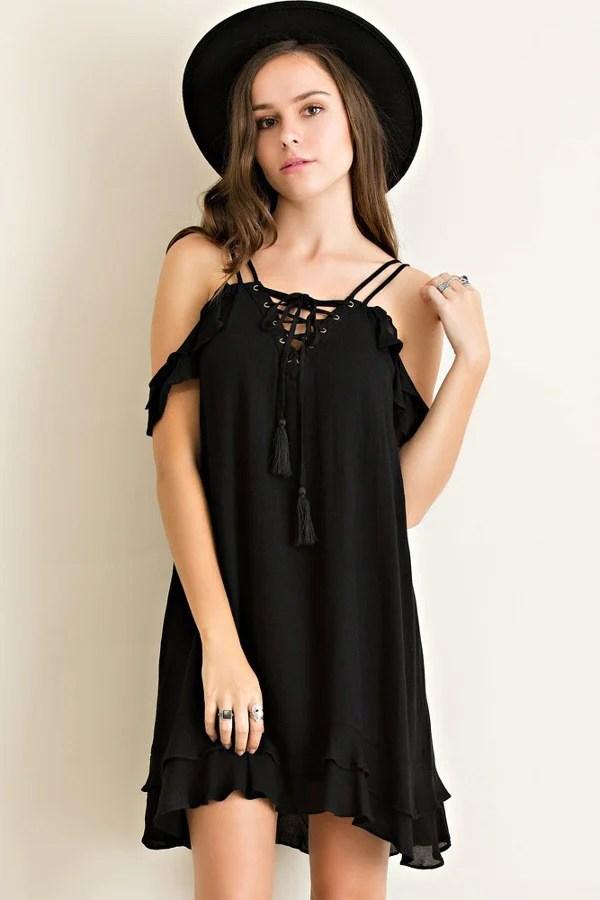 also cold shoulder flutter black dress by entro rh flyingdaisy