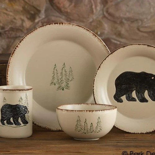 Rustic Retreat Dinnerware Set  16 pieces  Park Designs