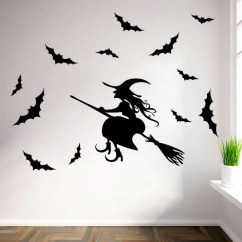 Wall Stickers Living Room Light Hardwood Floor Ideas Flying Witches Window Outdoor Decor Witch Silhouette Vinyl Decals Removable Art