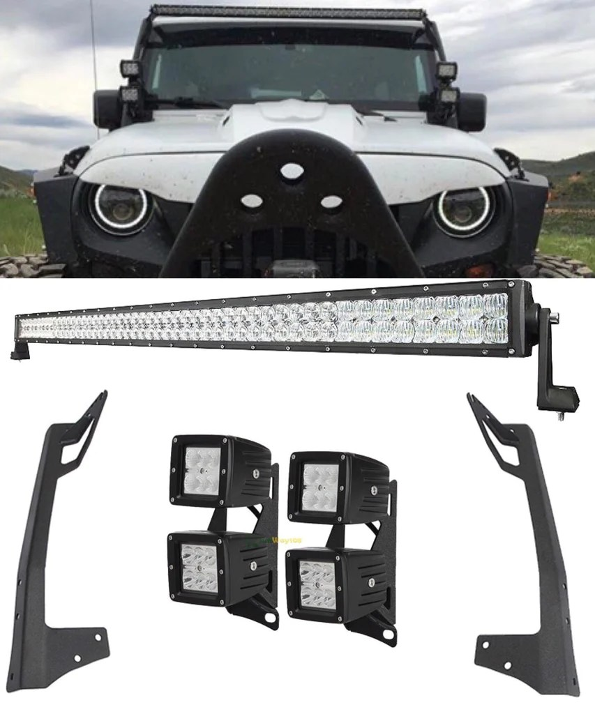 small resolution of for jk 52 300w 700w light bar 4 double stack 18w led pods with