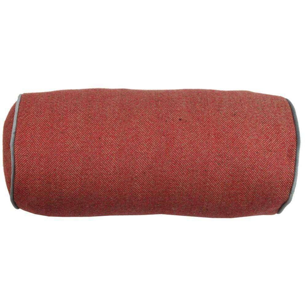 deluxe herringbone red bolster pillow 45cm x 20cm