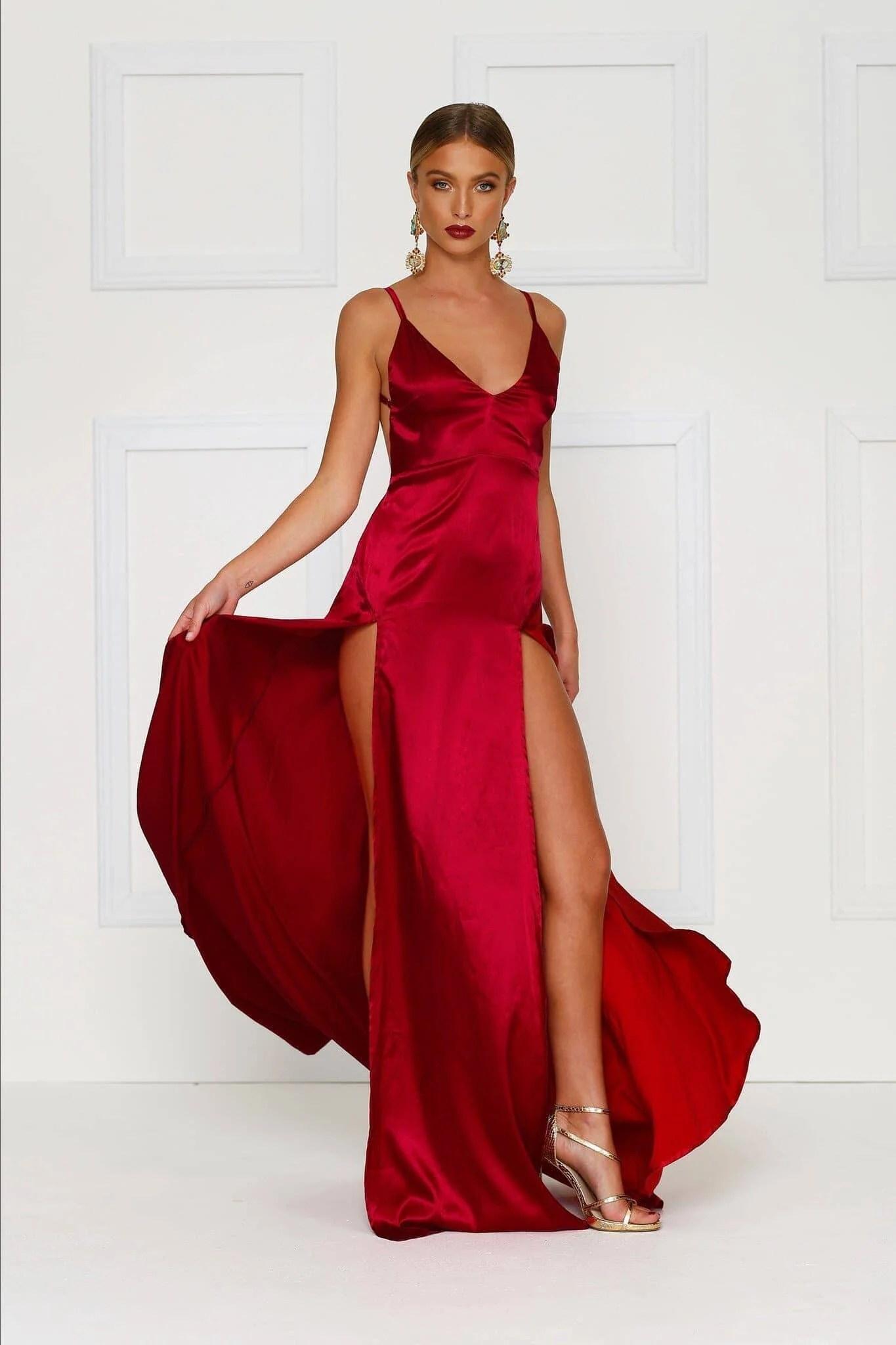 Red Satin Long Dress
