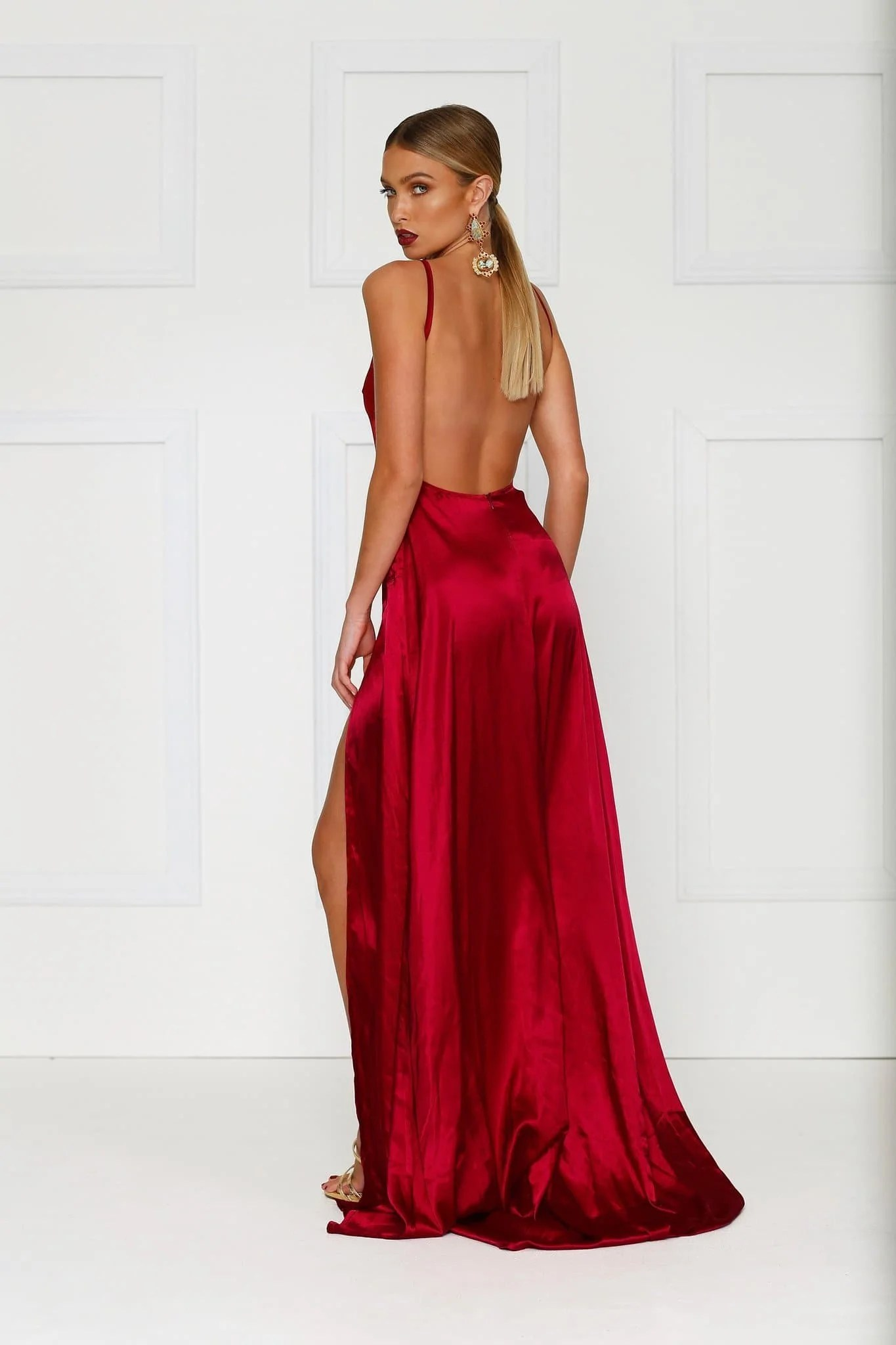 Red Satin Long Dress with Slit